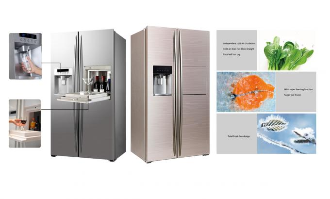 598L Low Power Low Noise Frost Free Side By Side Refrigerator Freezer Super Freezing Function CE Approval with Ice Maker