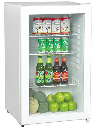 Low Power Double Sliding Door Beverage Cooler Refrigerator 85L 220V 50Hz