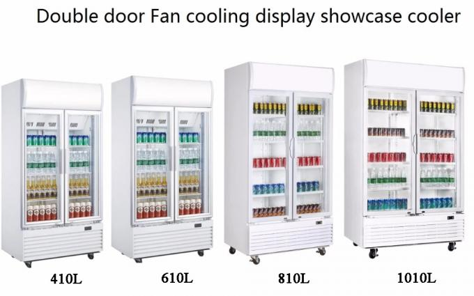 Vertical Double Door Beverage Cooler Refrigerator 430L Capacity Fashionable Appearance