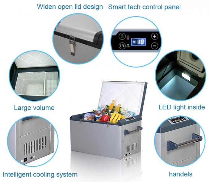 Electrical 12V DC Portable Static Cooling Low Noise Car Fridge Freezer 62L Capacity Intelligent Cooling System