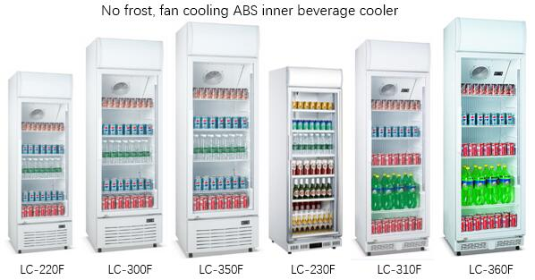 Vertical Frost Free Sliding Door Display Beverage Refrigerator / Glass Door Chiller
