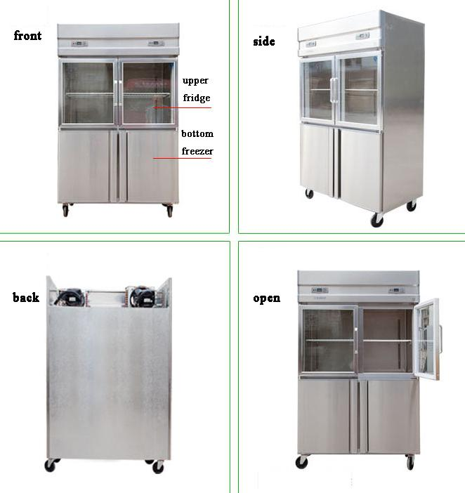 2/4 Doors Commercial Kitchen Refrigerator 1000L Capacity With Low Consumption