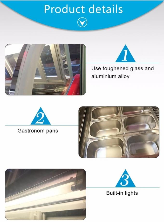 Low Noise Fan Forced Ventilation Gelato Showcase, Energy Saving Commercial Chest Freezer with 2000mm Length