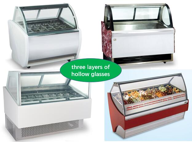 480L Stainess Steel Ice Cream Showcase Freezer With Digital Temperature Controller 1568mm Length