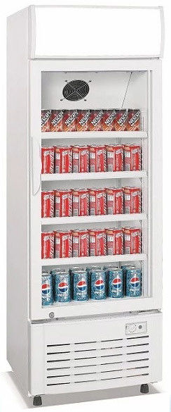 308L upright signle door aluminium inner direct cooling display beverage cooler/beverage showcase/commercial fridge