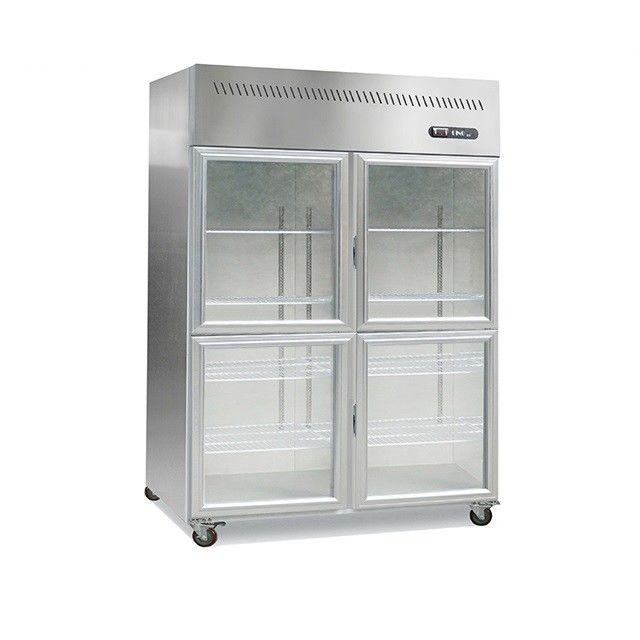 1000L 2 Or 4 Glass Doors Upright Kitchen Display Freezer Fridge Stainless Steel Material