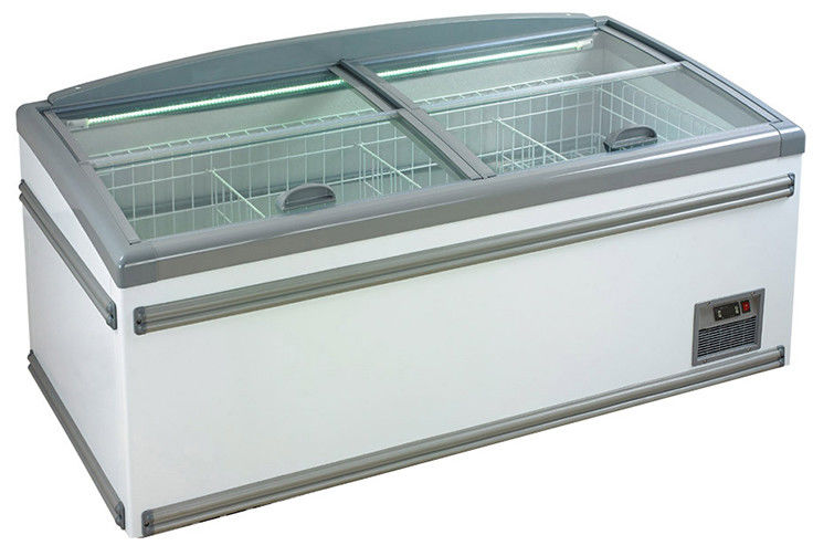 630L Four Sliding Glass Door Island Freezer , Commercial Deep Freezer For Supermarket