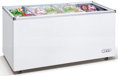 China 550L Commercial Chest Freezer With Top Open Sliding Two Flat Glass Door factory