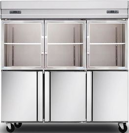 China 1600L Glass Door Commercial Kitchen Refrigerator , Stainless Steel Kitchen Appliances distributor